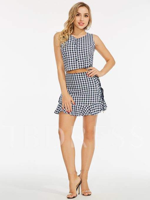 Gingham Ruffle Lace-Up Women's Two Piece Set