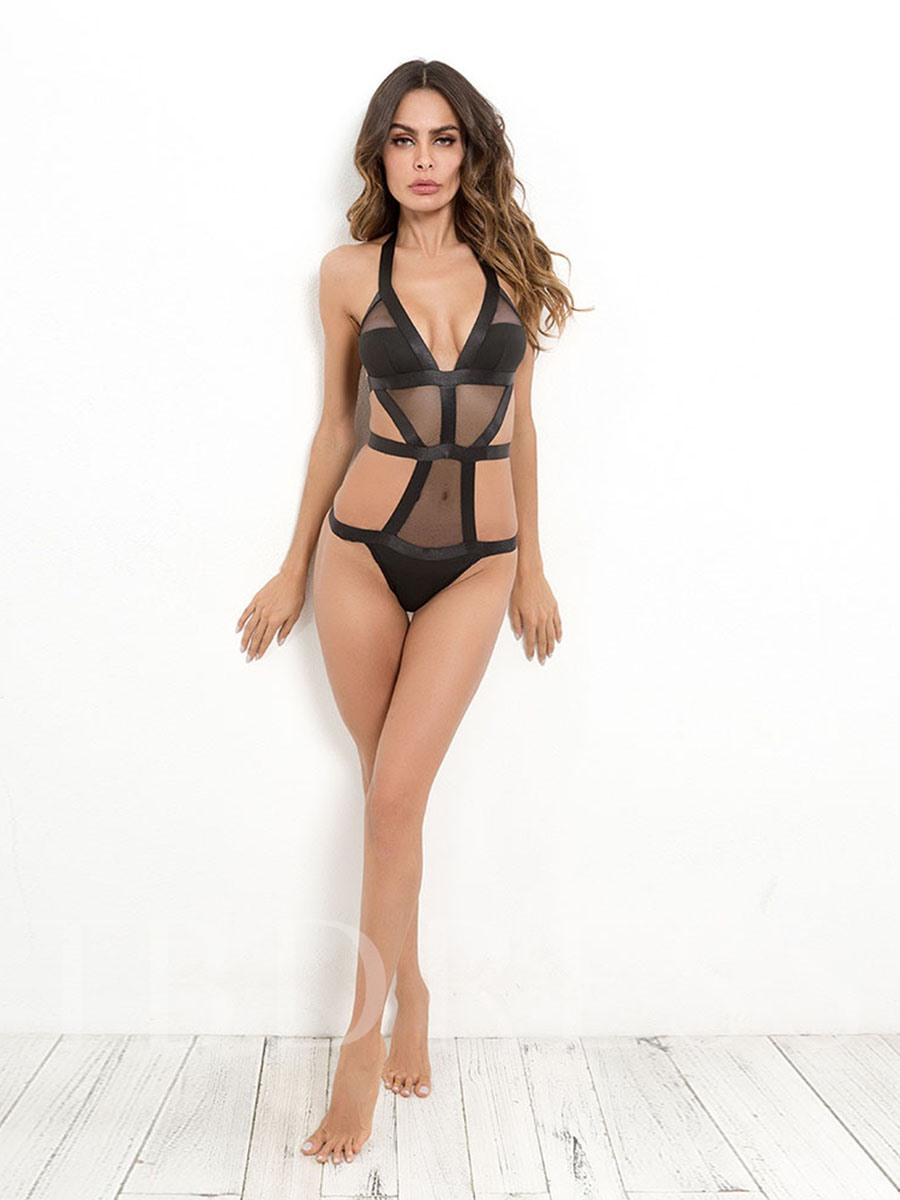 Sexy Lace Halter Hollow Back Closure Sexy Teddy