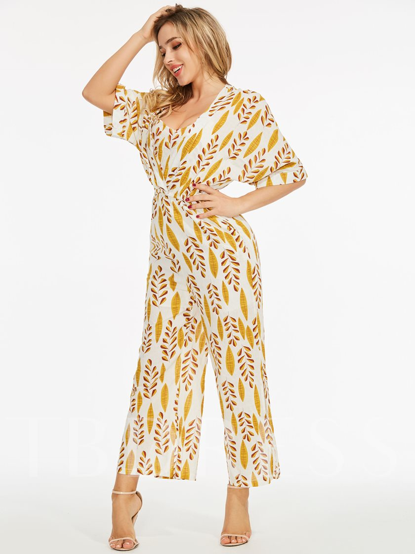Leaf Pattern Half Sleeve Women's Two Piece Set