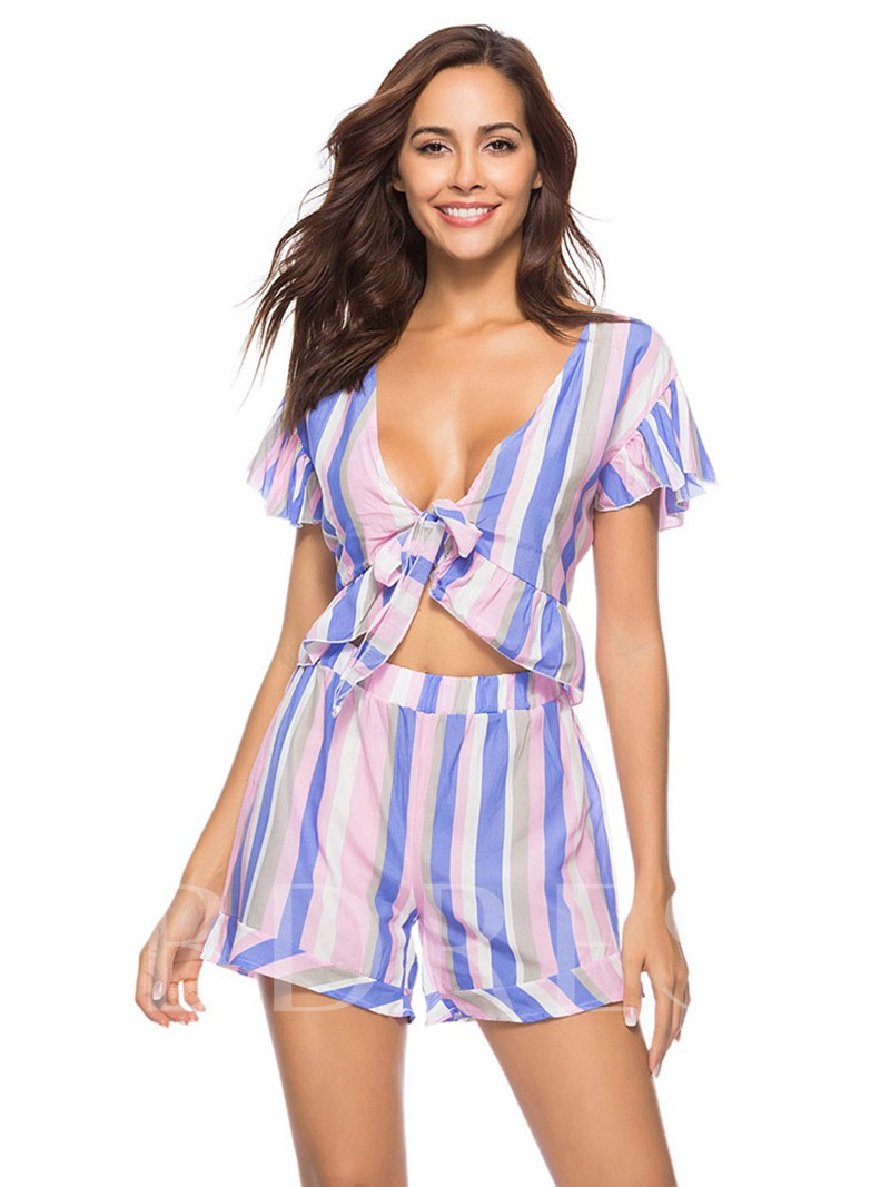 Stripe Ruffled Tie Front V Neck Women's Two Piece Set