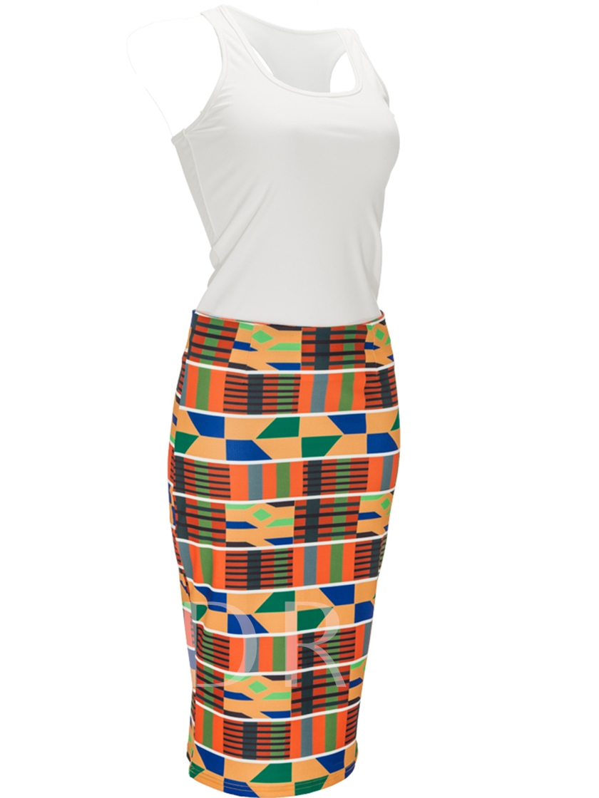 Sleeveless Top with Bodycon Skirt Women's Two Piece Dress