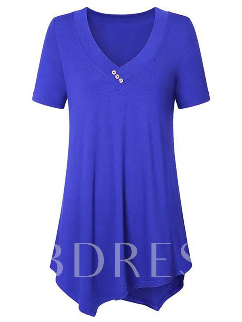 Mid Length Solid Color Loose Tunic Women's T-Shirt