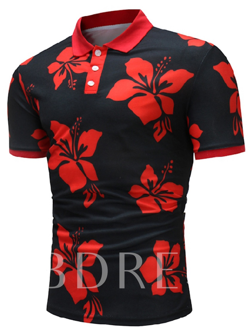 Lapel Floral Print Slim Men's Polo T-Shirt