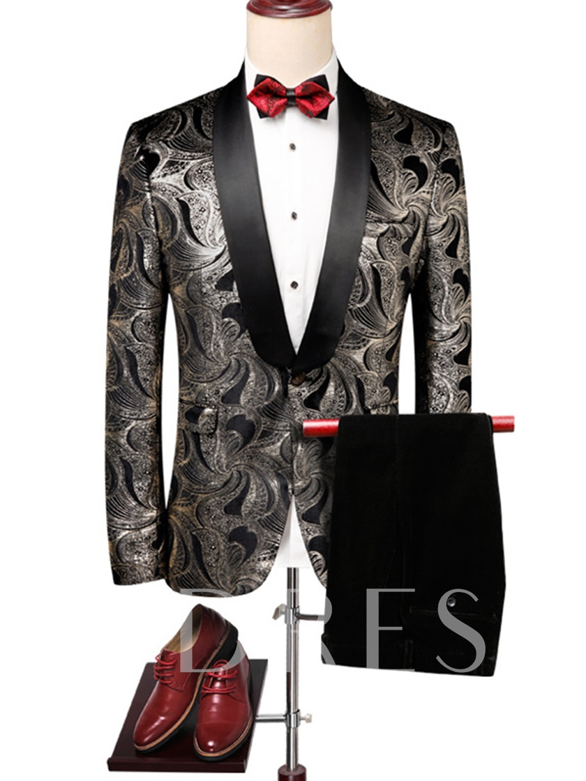 Notched Collar Golden Floral Print Slim Men's Dress Suit