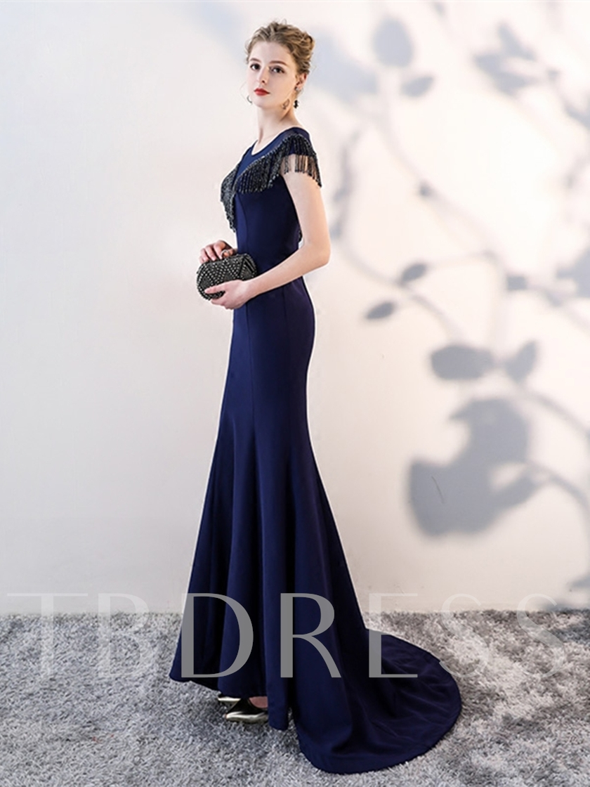 Scoop Mermaid Tassel Sweep Train Evening Dress