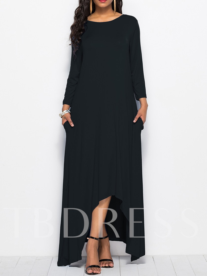 Long Sleeve Plain Floor-Length Maxi Dress