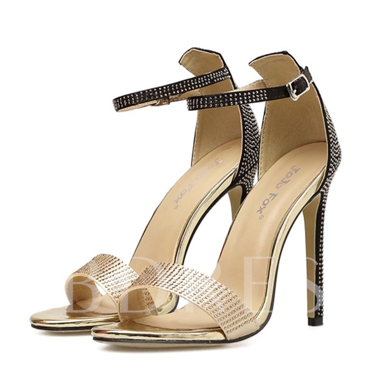 Buy Open Toe Heel Covering Stiletto Heel Rhinestone Women's Sandals, Spring,Summer, 13295540 for $40.71 in TBDress store