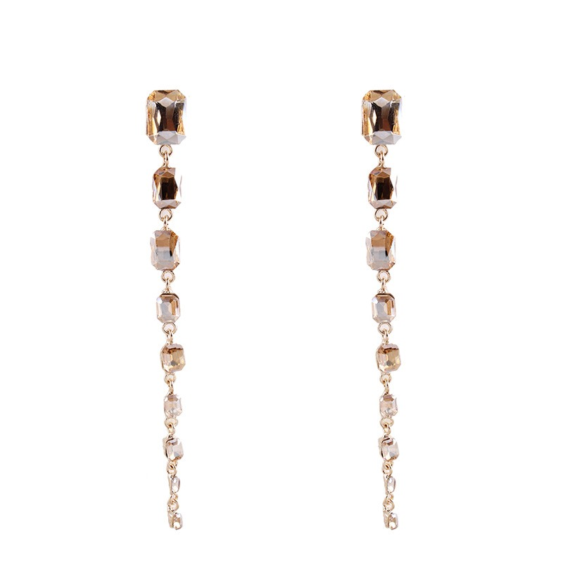 Lengthen Rhinestone Tassel Earrings