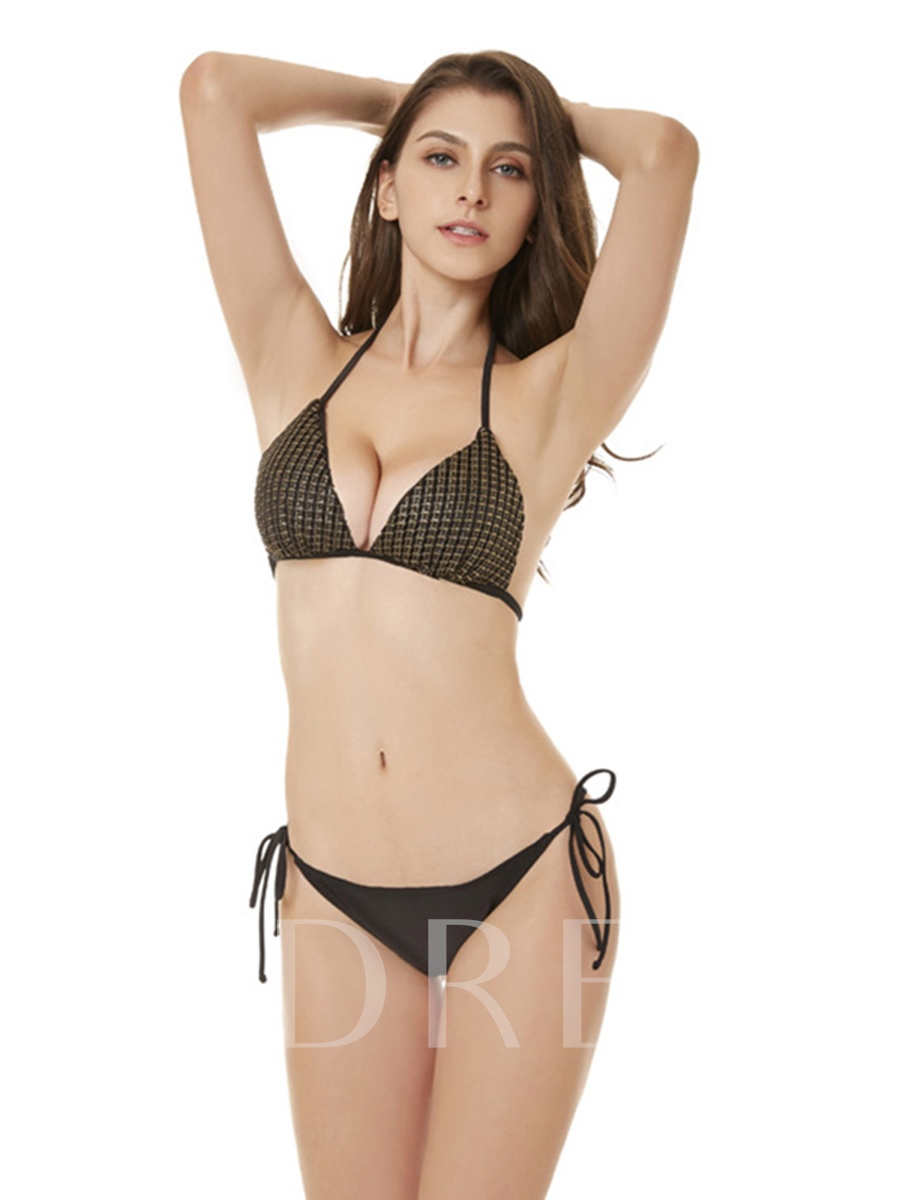 Plain Halter Lace-Up Sexy 2-Pcs Bikini Bathing Suits