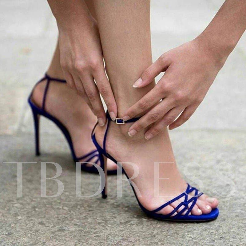 Line-Style Buckle Suede Ankle Strap Women's Sandals