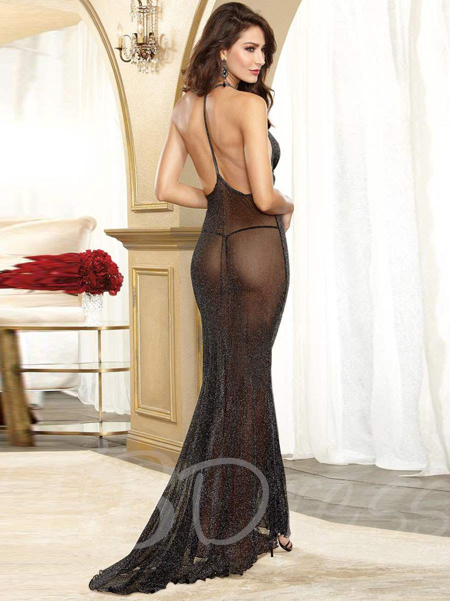 Deep V-Neck Flash Mesh Floor-Length Sexy Night Dress