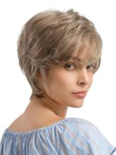 Short Straight Pixie Cut Layered Human Hair Blend Wigs