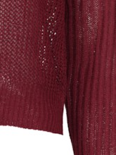 Plain Solid Color Hollow Out Women's Mock Neck Sweater