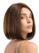 Mid-Length Bob Straight Human Hair Blend Wigs