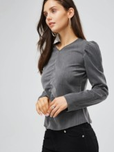 Ruched Puff Sleeve V-Neck Women's Blouse