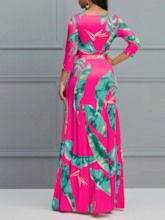 Three-Quarter Sleeve Print V-Neck Women's Maxi Dress