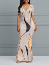 Short Sleeve V-Neck Print Geometric Women's Maxi Dress