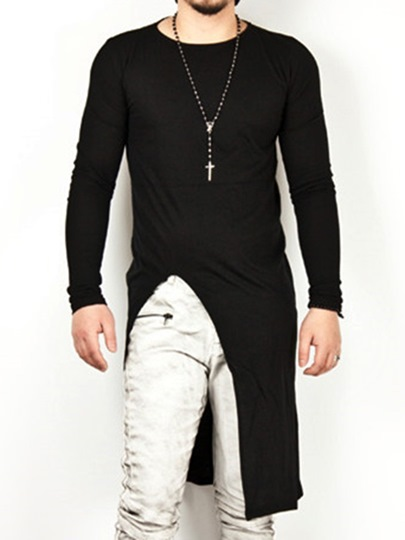 Plain Korean Stylish Irregular Tailoring Round Neck Long Sleeve Mens T-shirt Plain Korean Stylish Irregular Tailoring Round Neck Long Sleeve Men's T-shirt