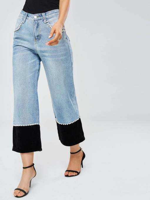 Color Block Wide Legs Patchwork Women's Jeans
