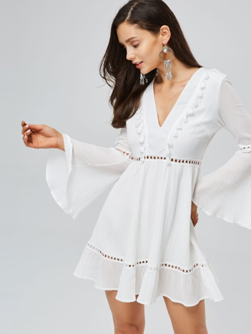 Bell Sleeve V-Neck Lace Elegant Dress