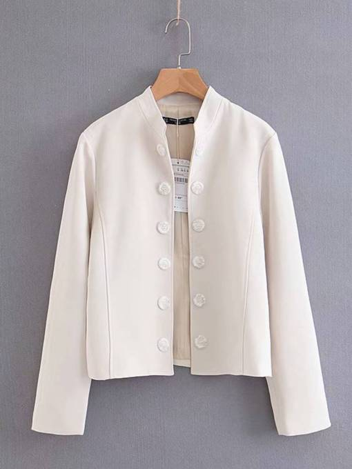 Button Down Solid Color Stand Collar Women's Jacket