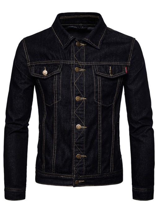 Lapel Vintage Slim Men's Denim Jacket