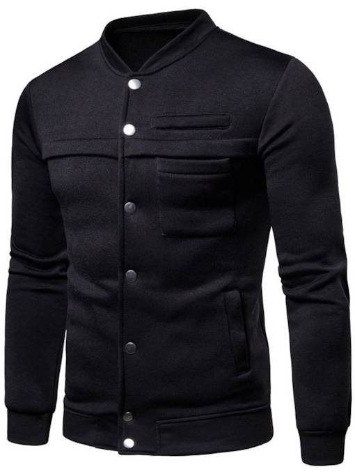 Stand Collar Plain Solid Color Men's Jacket