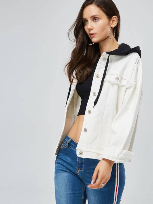 Hooded Button Up Pocket Women's Jacket
