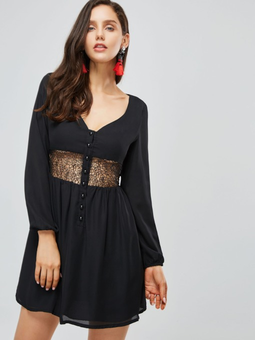 Black See-Through Chiffon Women's Day Dress