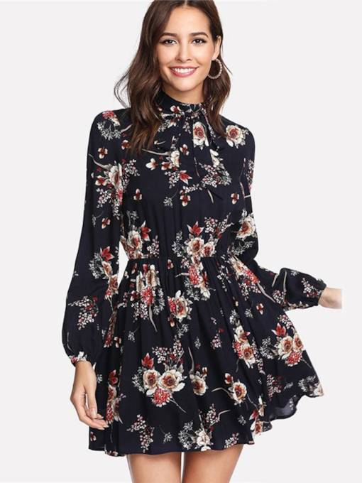 Long Sleeve Zip Floral Prints Day Dress