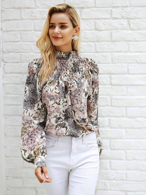 Retro Lantern Sleeve Floral Turtle Neck Women's Blouse