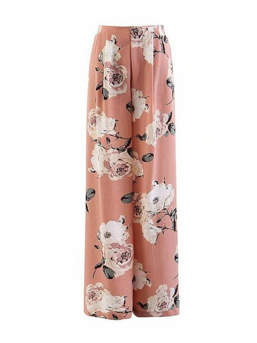 Floral Print Wide Legs Chiffon Loose Women's Casual Pants