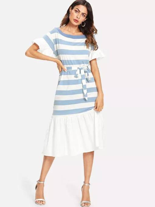 Boat Neck Belt Stripe Women's Day Dress