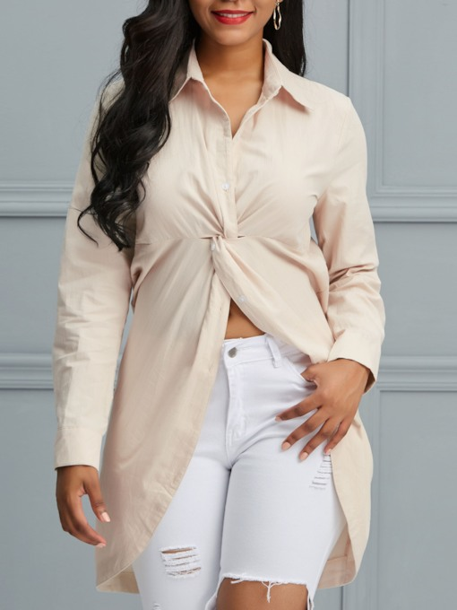 Plain Pleated Lapel Mid-Length Women's Blouse