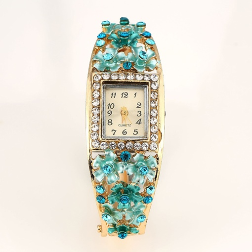 Rectangle Carved Flower Bracelet Watches