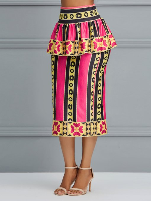 Color Block Falbala Mid-Calf African Ethnic Style Women's Skirt