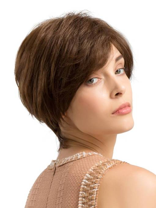 Short One Length Cut Human Hair Blend Wigs