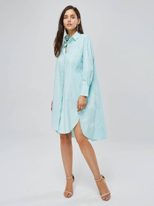 Long Sleeve Button Women's Shirt Dress