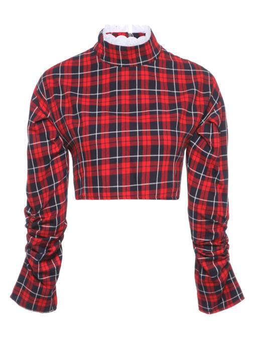 Frilled Plaid Long Sleeve Cropped Women's Blouse