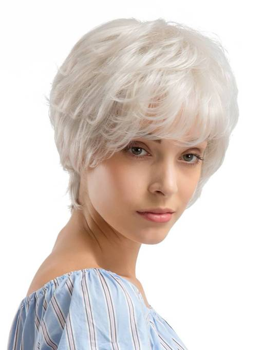 Short White Color Human Hair Blend Wigs For Women