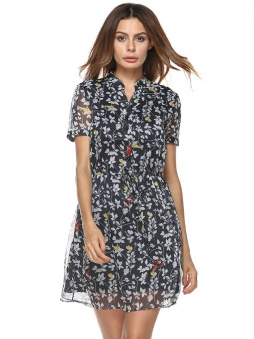 Short Sleeve Floral Prints Button Day Dress