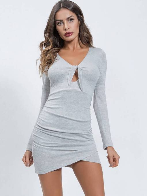 Long Sleeve Bowknot Sexy Party Dress