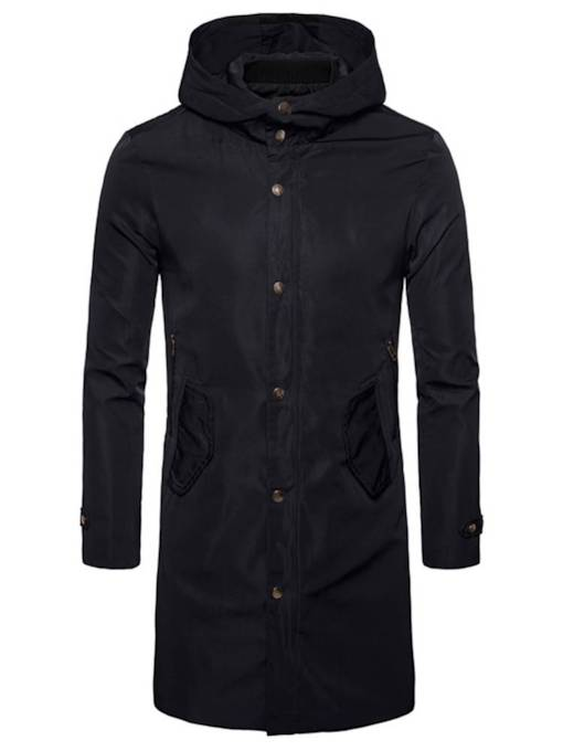 Hooded Single-Breasted Long Pattern Slim Men's Trench Coat