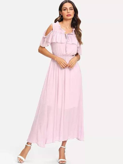 Short Sleeve Falbala Elegant Maxi Dress