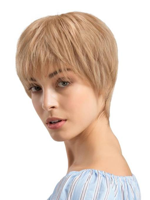 Short Cut Natural Straight Women Human Hair Blend Wigs