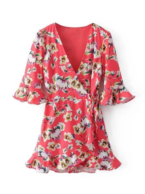 3/4 Length Sleeve Prints Wrap Dress
