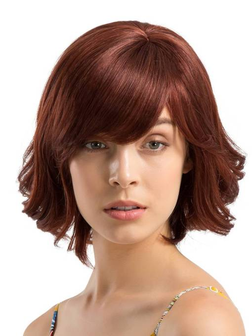 Bob Type Wavy Human Hair With Bangs Blend Wig