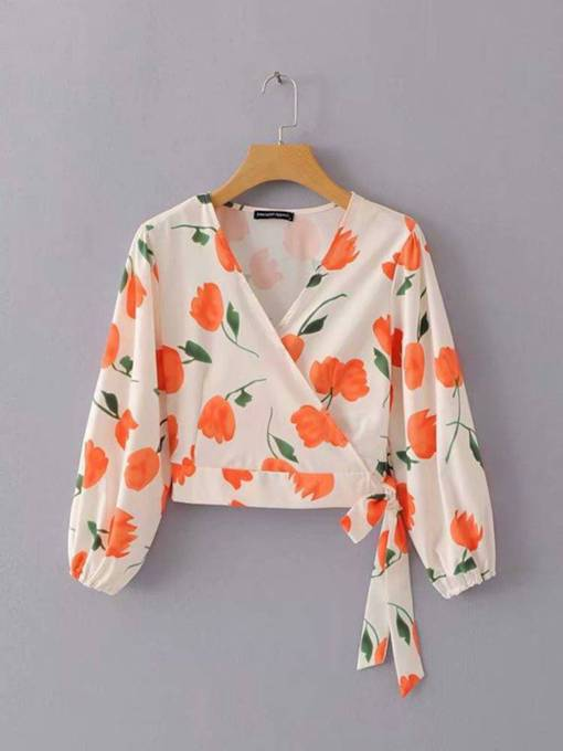 Floral Print Lace Up Wrapped Top Women's Blouse