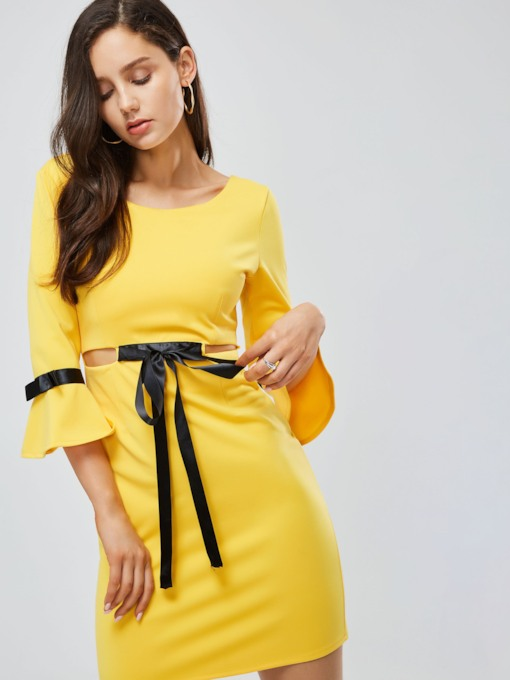 Yellow Bell Sleeve Bowknot Women's Bodycon Dress