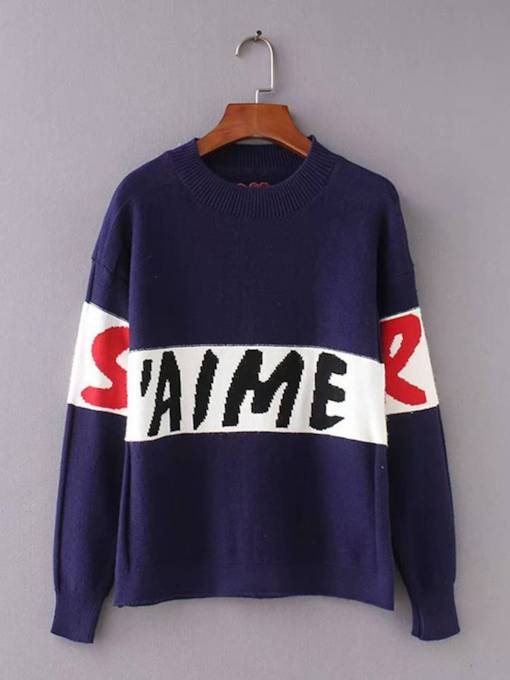 Loose Fit Letter Print Women's Mock Neck Sweater